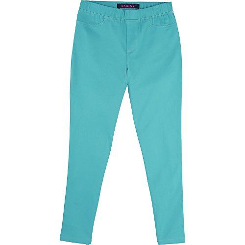 French Toast Girls' Big Pull On Twill Pant, Drift Turquoise, XL ()