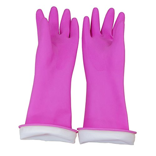 Natural Rubber Waterproof Work Playing Hand Protection Washing Cleaning Gardening Painting Gloves (Pink) ()