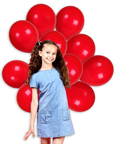 (Treasures Gifted 4th of July Red Solid Balloons 12 Inch Cherry Thick Latex Balloon Pack of 100 and 65 Yard Robbins Party Supplies for Arch Column School Wedding Birthday Graduation Party Decorations)