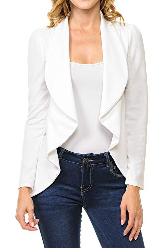(MINEFREE Women's Long Sleeve Classic Draped Open Front Lightweight Blazer Ivory M)
