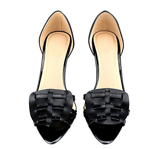 fereshte Women's Spliced Strap Mid Kitten Heel Peep Toe Sandals Large Size Black iLFwcfK