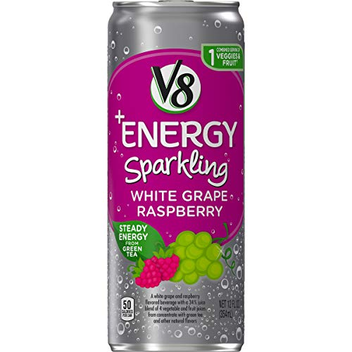 - V8 +Energy Sparkling Healthy Energy Drink, Natural Energy from Tea, White Grape Raspberry, 12 Ounce Can