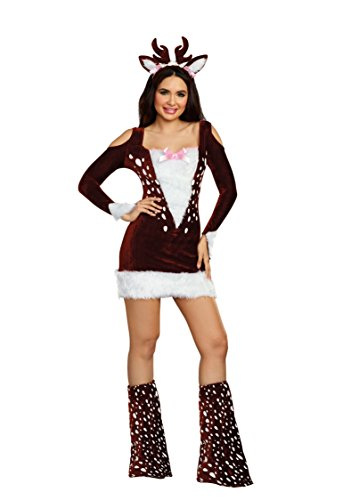 Dreamgirl Women's Cute Deer Me Animal Costume Dress, Brown, X-Large]()