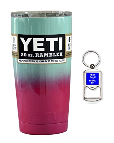 YETI Coolers Custom Powder Coated Insulated Stainless Steel 20 Ounce (20 oz) (20oz) Rambler Tumbler with Lid (Seafoam Pink Ombre)