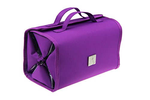 (ROYALFAIR Toiletry Bag for Women Roll-Up Make Up Organizer and Travel Bag - 4 Removable Cosmetic Bags (Purple))