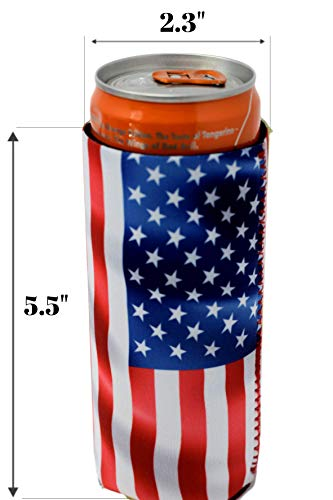 QualityPerfection 6 Slim American US Flag in The Wind - Neoprene Can Sleeves,Slim Beer Can Coolers,Energy Can Sleeves Great 4 Holidays,Sport/Business Events,Parties,Independence Day,BBQ,4th Of July by QualityPerfection (Image #5)