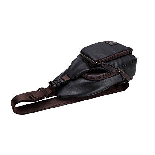 Wewod Moda Hombres Bolsa Bandolera Mochila Caso de Bolsillo Bolso del Pecho PU Bolsa de Hombro 18 x 31 x 5 cm (L*H*W) Negro