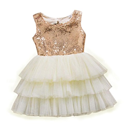 Flower Girl Dress, Misaky Sequins Bow Backless Party Bridesmaid Dresses (4T, Gold)