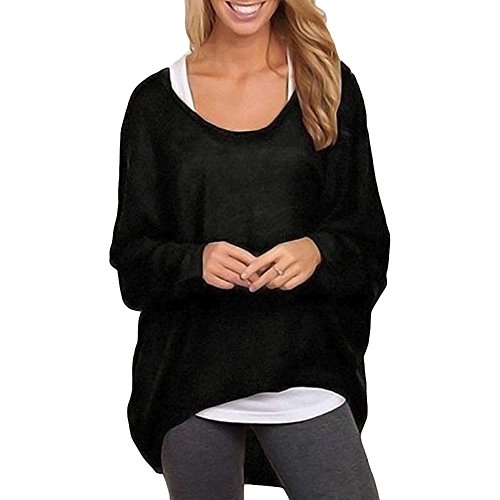 Romacci Women's Sexy Long Batwing Sleeve Loose Pullover Casual Top Blouse T-Shirt