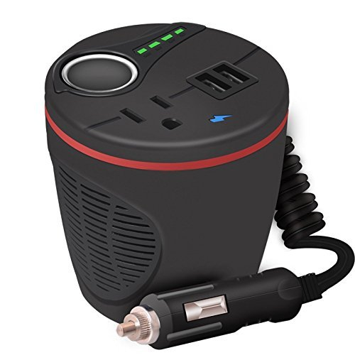 GTSUN 150W Peak 300W Portable Power Inverter 12V DC to 110V 120V AC Cup Holder Power Adapter With Dual USB 2.4A + Car Cigarette Lighter Socket + AC USA Outlets