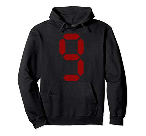 Red Digital Number 9 Sports Games Team Color T Shirt (Nonary Game)