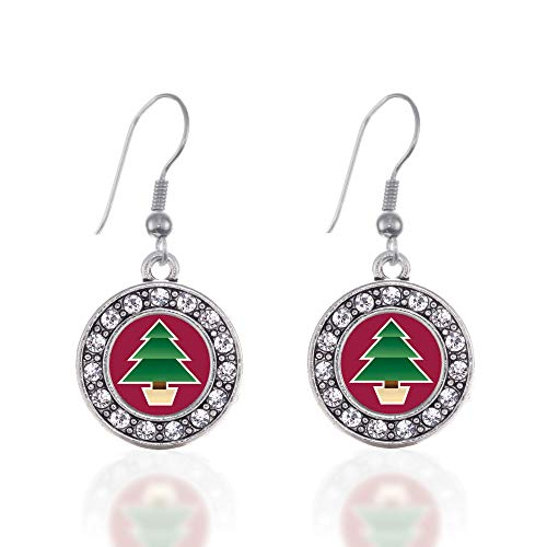 (Inspired Silver - Holiday Tree Charm Earrings for Women - Silver Circle Charm French Hook Drop Earrings with Cubic Zirconia Jewelry)