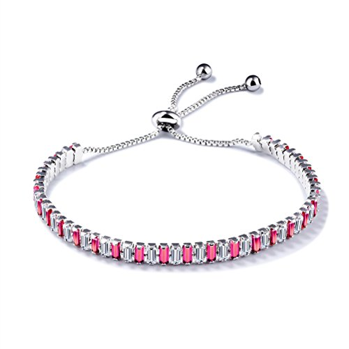 PAURO Women's Jewelry Cubic Zirconia Inlaid Pull Chain Tennis Bracelet Adjustable Length, Red Diamond (Sweet Romance Jewelry Wholesale)