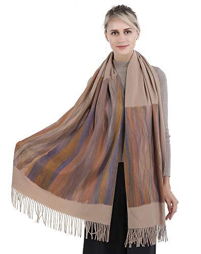 Shawl Neck (Niaiwei Cashmere Scarf Blanket Large Soft Pashmina Shawl Wrap For Men and Women (Light Khaki))