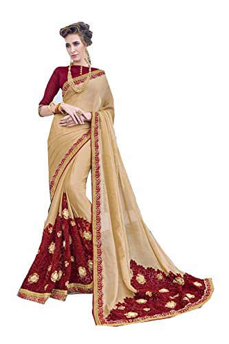 Dessa Collections Indian Sarees For Women Wedding Cream Designer Party Wear Traditional Sari by Dessa Collections
