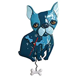 Allen Designs Whimsical Frenchie Pendulum Wall Clock - Le Bleu