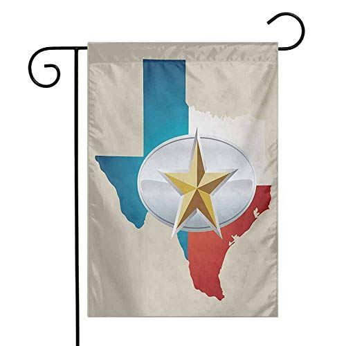 Mannwarehouse Texas Star Garden Flag Cowboy Belt Buckle Star Design with Texas Map Southwestern Parts of America Decorative Flags for Garden Yard Lawn W12 x L18 Multicolor