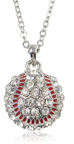 "Petite 1/2"" Clear Crystal Embellished Silver Tone Baseball Charm Necklace Jewelry for Teens Women Girls"