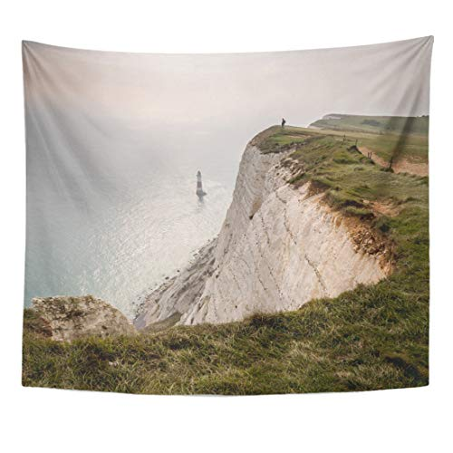 Emvency Tapestry Beachy Head East Sussex UK Cliff Top with The Famous Lighthouse Visible and Anonymous Hiker Admiring View Home Decor Wall Hanging for Living Room Bedroom Dorm 50x60 Inches