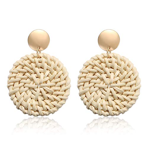 YINL Straw Earrings Hoops – Handmade Lightweight Straw Woven Drop Earrings Disc Dangle Earrings Statement Bohemian Earrings for Girls (Disc)