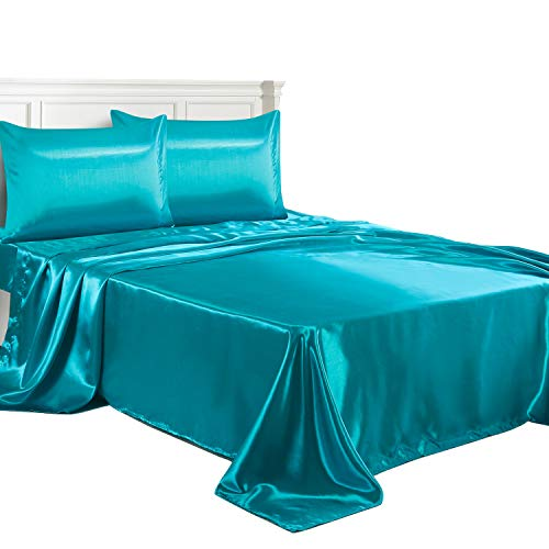 LITHER Queen Size Satin Sheets Set Teal, Deep Pockets Fitted Sheet, Sliky and Breathable Luxury Bed Sets