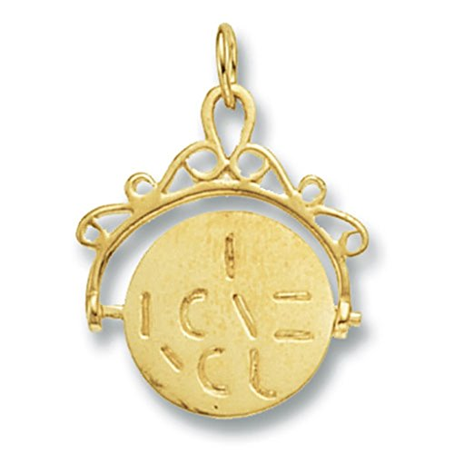 Or 9 ct mailles jaseron Spinning I Love You Pendentif sur un collier