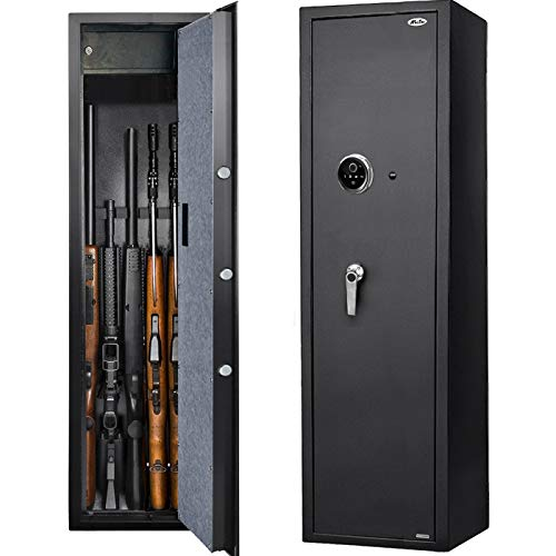Moutec Large Biometric Rifle Safe, New and Improved Fingerprint Long Gun Safe for Rifle Shotgun for Home, Quick Access 5-Gun Storage Cabinet (with/Without Scope) with Handgun Lockbox Slient Mode