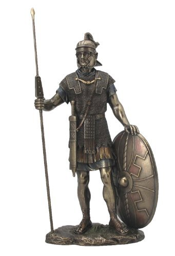 Roman Warrior with Spear and Shield Statue Sculpture