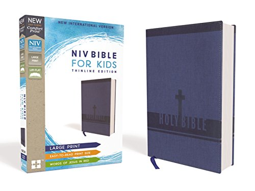 NIV, Bible for Kids, Large Print, Leathersoft, Blue, Red Letter Edition, Comfort Print: Thinline Edition