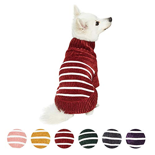 Blueberry Pet 2020 New Cozy Soft Chenille Classy Striped Dog Sweater in Burgundy Red, Back Length 12