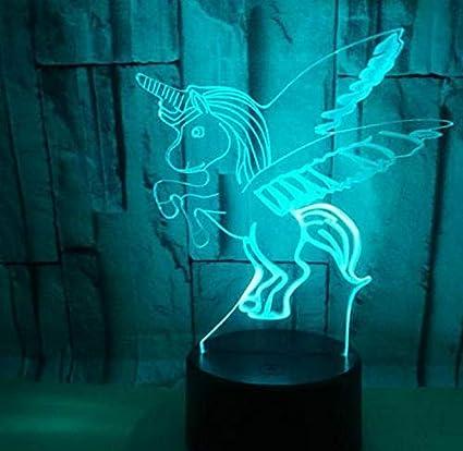 Lámpara de mesa de escritorio con luz de noche LED 3D decoración del hogar cumpleaños regalo para niños dibujos animados caballo lindo unicornio alas voladoras cuento de hadas niña