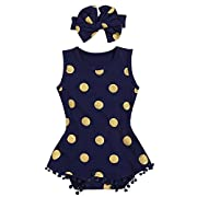 AILOM Infant Baby Girl Summer Golden Dot Romper Tassels Jumpsuit Sleeveless Clothes Set With Cute Headband (Navy Blue, 0-6Month)