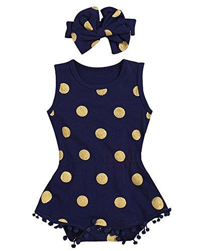 AILOM Infant Baby Girl Summer Golden Dot Romper Tassels Jumpsuit Sleeveless Clothes Set With Cute Headband (Navy Blue, 6-12Month)
