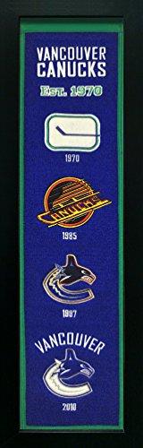 Nhl Vancouver Canucks Framed (Vancouver Canucks - Standard Framed Wool Heritage Banner - NHL Mancave Artwork)