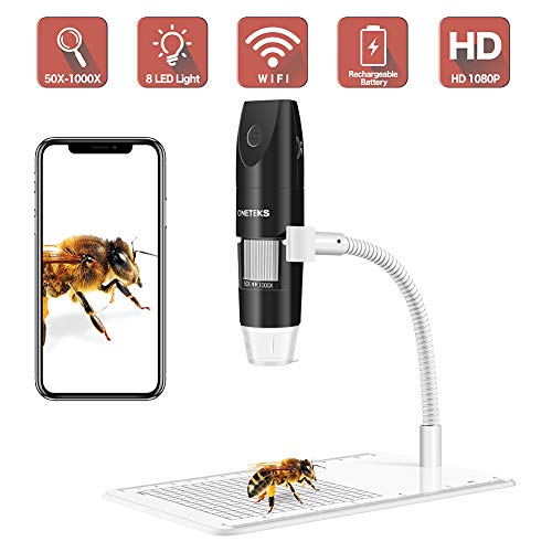 Wireless Digital Microscope, 50X to 1000XUSB Digital Microscope, Flexible Arm Observation Stand with 1080P HD 2.0 MP 8 LED Camera, Mini Handheld Microscope Camera for Android and iOS Smartphone or Tab