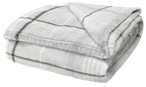 Large Double Flannel Blanket - Velosso Teddy Super Soft Thermal Soft Cuddly Flannelette Throwover 130X180, Large 1 Seater Sofa / Bed Blanket Throw Double Silver / Grey