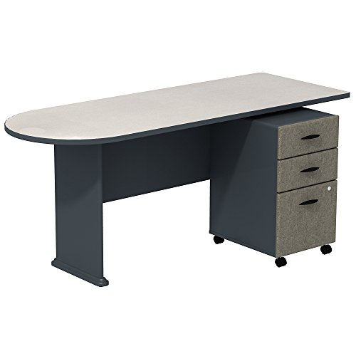 Bush Business Furniture Series A White Spectrum/Slate 72W Peninsula Desk with 3-Drawer Mobile Pedestal