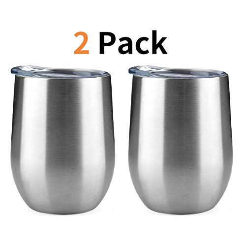 ONEB Stainless Steel Wine Tumbler with Lid, 12 OZ | Double Wall Vacuum Insulated Travel Tumbler Cup for Coffee, Wine, Cocktails, Ice Cream Thermos Cup With Lid (12OZ Silver/2 pack)