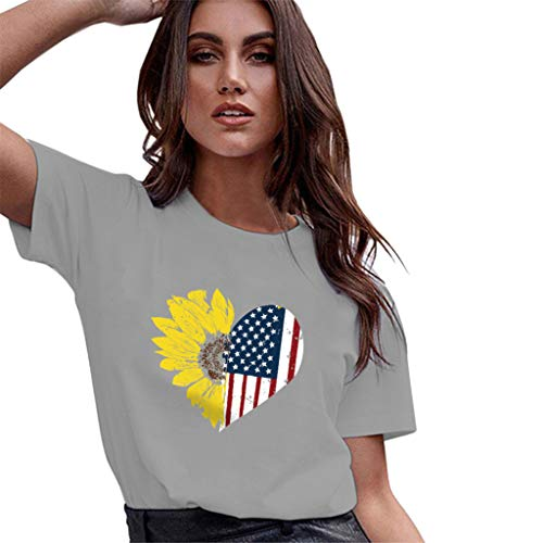 - Allywit Women's Summer Loose Leisure American Flag Sunflower Short Sleeve 4th of July T-Shirt Plus Size Gray