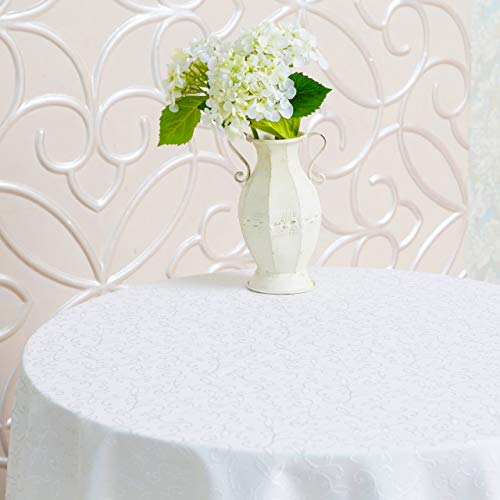 Stain Resistant Turkish White Tablecloth Polyester Table Cover - Rectangle Square Round Washes Easily Non Iron - Thanksgiving Christmas Dinner Wedding New Year Eve Gift (WHITE, Round -