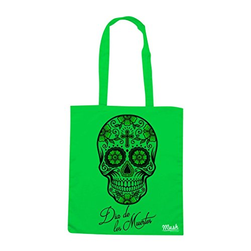 Borsa Dia De Los Muertos Skull - Verde prato - Famosi by Mush Dress Your Style