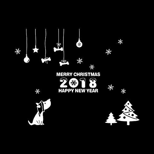 Christmas Wall/ Window Sticker, DENER Happy New Year 2018 Merry Christmas Tree Wall Sticker Home Shop Office Windows Decals Decor (Blanc) by Dener