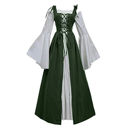 Sunyastor Womens Medieval Dress Renaissance Costumes Over Long Dress Cosplay Retro Gown Bandage Corset Party Club Dress Deep Green]()