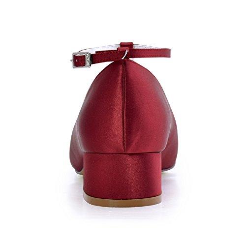 Satin Chunky Wedding Red T Heel Evening Dark Strap Pumps Women ElegantPark Shoes Toe Dress Closed HqwBc8A