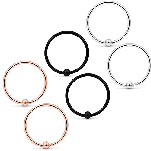 (Yaalozei 6PCS 20G 8mm Stainless Steel Attached Captive Bead Nose Hoop Rings Eyebrow Cartilage Helix Hook Earring Septum Ring Piercing Jewelry for Men Women Mix Color 1#)