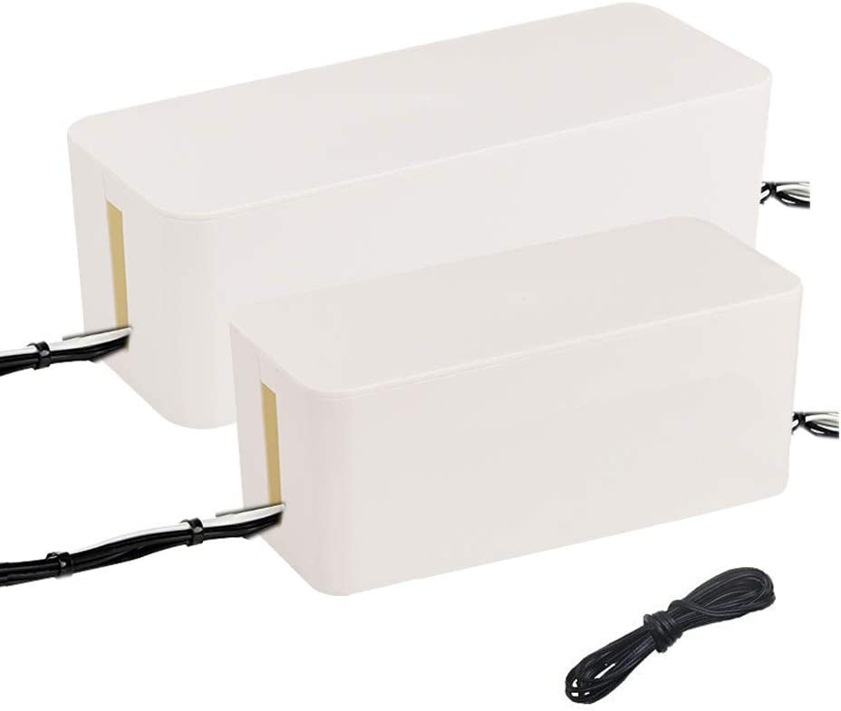 4330227488 Cable Management Box Storage Organizer for Home Office Entertainment Center TV Computer Hides All Wires Power Cord Surge ProtectorL12.6W5.4H5 White Wellco Industries Inc