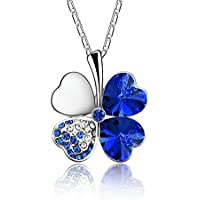 Akvode Women's Clover Pendant Crystal Necklace Heart Shaped Swarovski Austrian Pendant Jewelry for Halloween Day Gifts