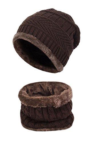 Beaii Sombrero de punto de calentamiento para hombres con forro polar Bufanda Café-s