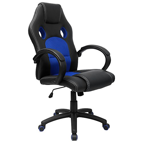 41v6W2ABH9L - Homall Executive Swivel Leather Office Chair, Racing Chair High-back Gaming Chair Pu Leather and Mesh Bucket Seat,computer Swivel Lumbar Support Chair