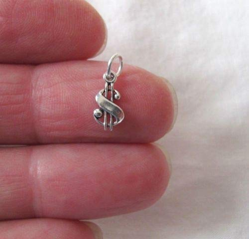 Small Sterling Silver Dollar Sign Miniature Charm. - Jewelry Accessories Key Chain Bracelet Necklace Pendants
